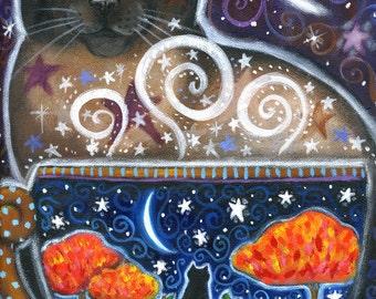 Harvest Magic - 7 x 9 1/2 inch print - by Brenna White - moon stars fall autumn halloween coffee cat