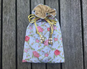 Rose Trellis Tarot / Oracle Bag Lined with Antique Gold Dupion Silk