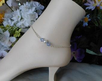 Something Blue Bridal Anklet-Light Sapphire Bridal Blue Anklet-Wedding Anklet-Bridesmaid Gift-Blue and White Pearl Anklet-Silver Anklet