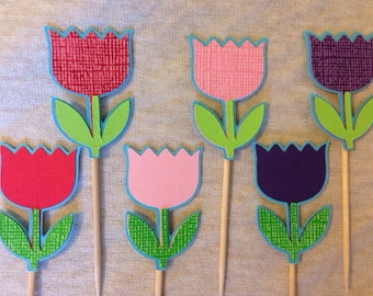 Tulip cupcake toppers