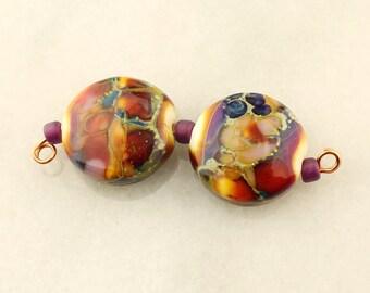 Lampwork Glass Bead Set  Earring Pair, Autumn Fire Lentil