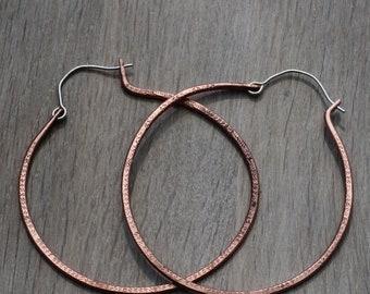 Copper hoop earrings - Statement earrings - Handmade hoops - Boho hoops - 0.8mm - 22ga - 20ga - Sterling silver - Unique - Rustic hoops