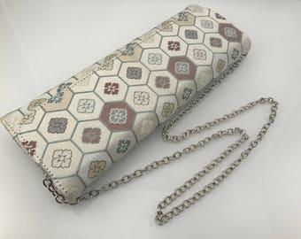 Elegant white obi clutch, Japanese evening purse wedding, Japanese obi bag, Obi clutch bag, Kimono clutch bag, wedding clutch, AnninaDesigns