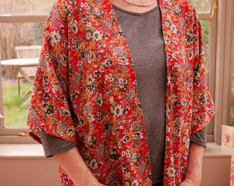 Handmade Women's Kimono Jacket - Red/White/Green Floral Print
