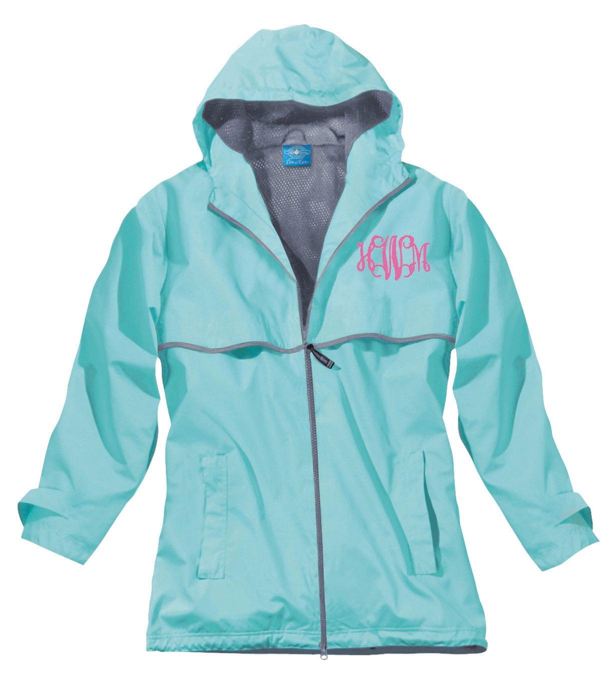 Monogram Rain Jacket - Womens Rain Jacket - Hooded Jacket - Lightweight Jacket - Rain Jacket - Monogrammed Jacket - Personalized Jacket KR8wUZzo06
