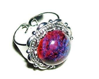 DRAGON'S BREATH RING Czech Glass Mexican Fire Opal Silver Pltd Adjustable