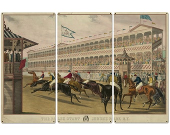 """The False Start, Jerome Park New York, Currier & Ives 1868, Horse Races, Triptych Metal Sign, Americana, Wall Decor, Wall Art 54""""x36"""""""