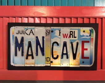 License Plate Sign License Plate letter Art Picture Home Deco MAN CAVE License Plate Letter Sign License Plate Art