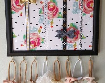Floral bow holder/ black and pink bow and headband holder