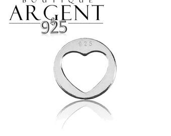 Openwork heart charm - 9.8 mm - Sterling Silver 925 round heart primer
