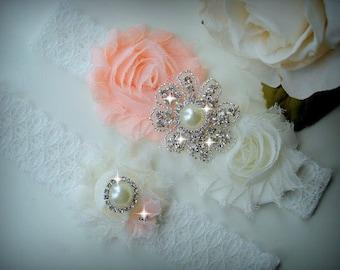 Peach Garter, Wedding Garter Set, Ivory Stretch Lace Garter, Rhinestone garter,Vintage Inspired Garter Set, Peach Garter Set