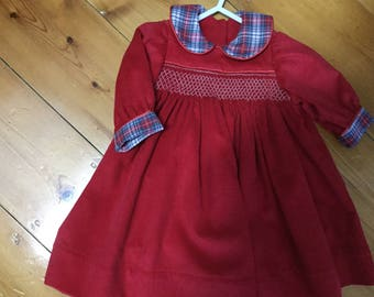 Smocked baby dress size 000=NB-3 months