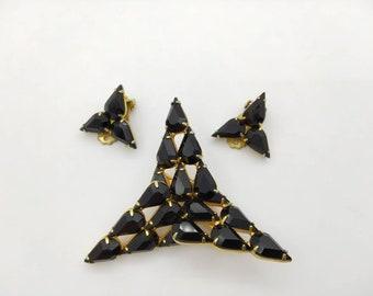 Modern Black Tears Brooch and Clip Earrings Art Deco
