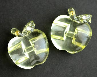 Two (2) Light Yellow Apple Buttons. Pale Yellow Buttons. Clear Acrylic Buttons. Clear Plastic Buttons with Rhinestone Detail. 24mm x 23mm