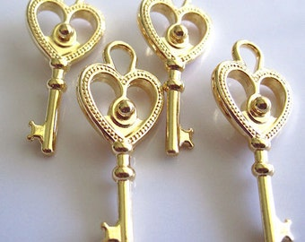 Charms - Lot of 4, Gold-Plated Pewter, 29x12mm Double-Sided Key - JD108