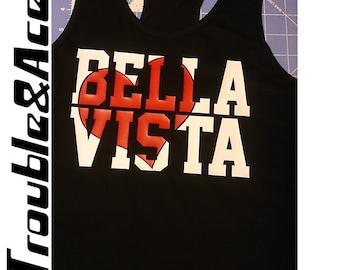 Bella Vista Heart Bella Vista Middle School Spirit Wear BVMS Spiritwear Shirt Black White Red Racer Back Tank Top, Girls and Juniors sizes