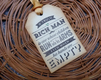 Rich Man Whose Children Run into His Arms, Father's Day Tag, Birthday Tag, Masculine Tag, Gift Tag for Men