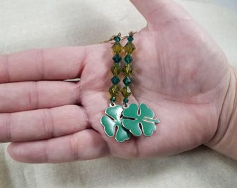 beaded jewelry,earrings,hypoallergenic,shamrock,shamrock earrings,leprechaun,green,green shamrock,four leaf clover,St Patrick's Day,clover