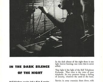 Telephone Operator AD 1948 Bell Telephone System Occupational Photo Print Ad