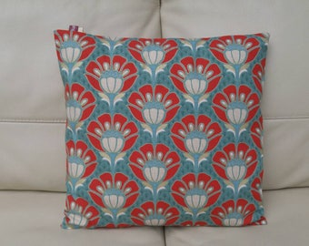 Pillow cover pinwheel, vintage, 40 x 40, trendy, cotton decoration furniture colors teal, red and gold, large flowers