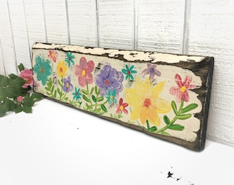 Flowers,Hand painted spring flowers on wood