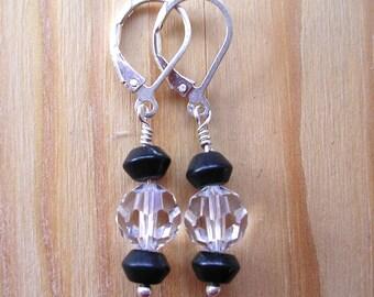 Tuxedo Earrings - Blackstone and Swarovski Crystal