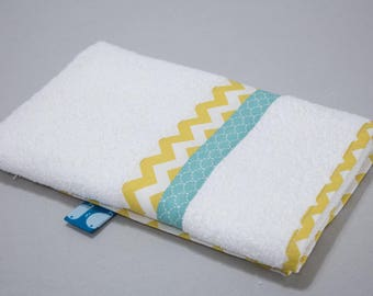 """Small towel """"Calf"""" - blue scales & yellow zigzag"""