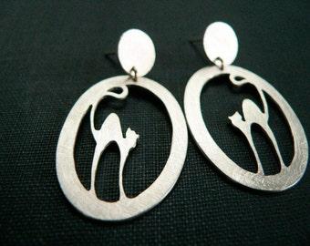 Silver cat earrings, cat earrings, silver cat jewelry, Sterling Silver cat earrings, Silhouette cat, cat lover gift, earrings dangle silver