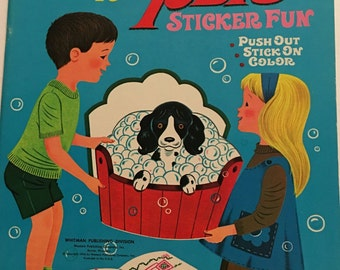 Sticker Book, Easy to do Pets, Vintage, whitman, NOS, 1968
