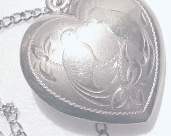 1930-40s Vintage Large Hollow Engraved Etched Puffy Heart Sterling Mourning Doves Pendant Necklace Vintage Sterling Puffy Heart Dove Pendant