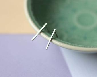Long Geometric Bar Studs - Sterling Silver Earrings | geometric jewellery | modern studs | creeper studs | mother's day