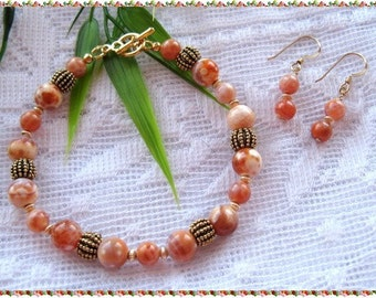 Crab Fire Agate Bracelet and Earrings  FREE SHIPPING