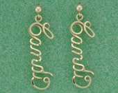 Name Drop Earrings in Gold Wire