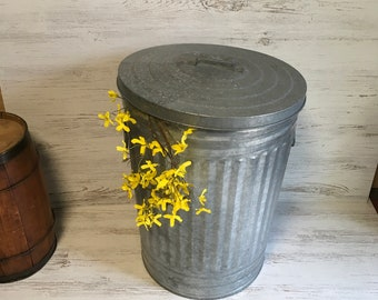 Vintage galvanized garbage can 20 gallon metal farmhouse decor planter vase pot kitchen barn porch container storage silver retro repurpose