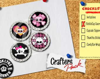 Skull Inspired - Crafters Pack - Set of 4 Flattened Bottle Caps - For Crafting, Hair Bows, Pendants, Magnets