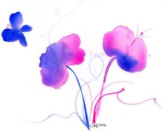 "Watercolor flowers, whimsical flowers print: ""An Early Spring"""