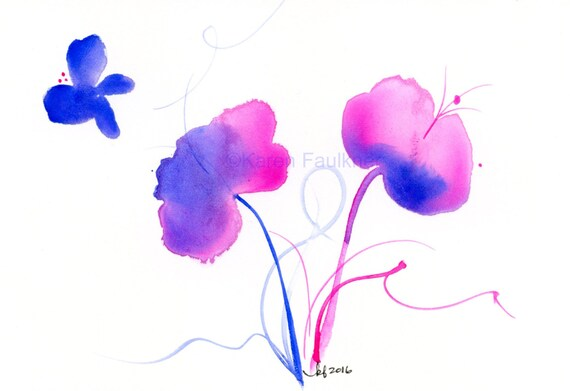 """Watercolor flowers, whimsical flowers print: """"An Early Spring"""""""