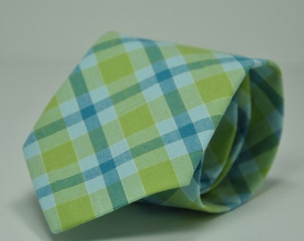 Blue and Green Plaid Boy's Necktie