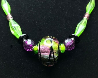 Purple & Lime Green with Black Swirls FOCAL GLASS BEAD Necklace (Handcrafted)