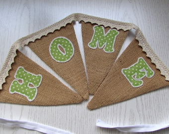 Hessian 'Home' Bunting , Party, Wedding, Fabric, Jute, Burlap,Shabby Chic ,Home Decor, Handmade, Fabric, Home, Home and Garden, Free Postage