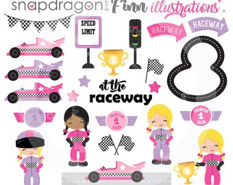 Girl Racing Clipart, Pink Purple Race Car Clipart, Race Car Driver Clipart, racecar clipart, digital images, Commercial License Included