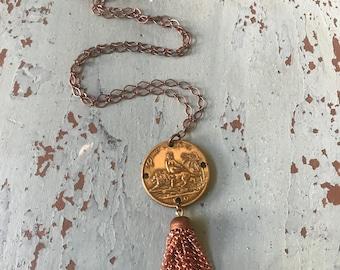 Leo Vintage Coin Necklace Tassel Copper Zodiac Birth Sign July August