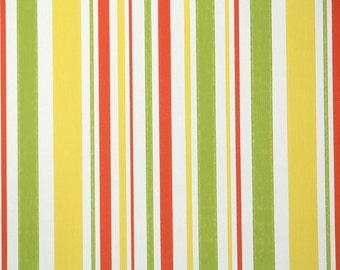 Retro Wallpaper by the Yard 70s Vintage Wallpaper - 1970s Red Green Yellow and White Stripes