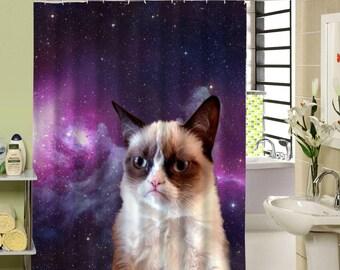 "Space Grumpy Cat Shower Curtain Sizes 35""X71"", 65""X71"", 71""X71"","