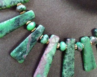 Ruby and Zoisite necklace and earring set