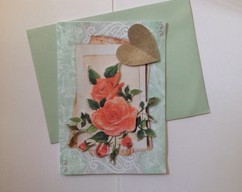 Double card, handmade, 3D, birthday, any occasion, happy birthday card, flowers and hearts, heart, flowers