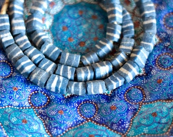 Blue African glass beads, Ghanaian beads, Krobo beads, Recycled glass, African bead, Powder glass, Tribal jewelry supply, Ethnic square bead