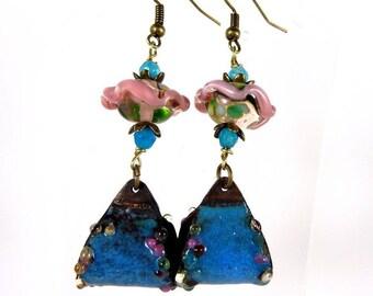 ethnic enamel copper blue-pink lampwork earrings.