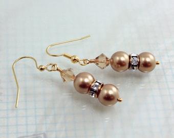 Pearl and Crystal Bridesmaid Earrings Gold Swarovski E12126