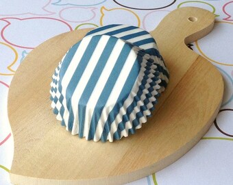 Gray Blue Stripe Standard Cupcake Liners
